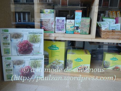 Set to grow micro-greens, as seen in the window of 'Centre Biona', Vevey, 12 April 2015